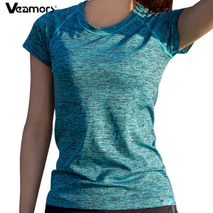 VEAMORS Women Quick Dry Sport Yoga Shirt, Short Sleeve Breathable Exercises Yoga Top T-Shirts For Gym Running Fitness
