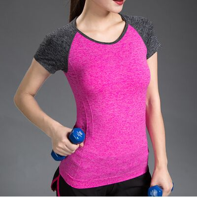 Patchwork Stretch Slimming Workout Running T-shirts For Sport Fitness Yoga Tops Women Gym Top Yoga Shirts Female Sport Jerseys