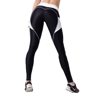Heart Booty Pattern Sexy Women Yoga Pants Fitness Gym Tights With Side Mesh Pocket Contrast Color Yoga Legging Running Trousers