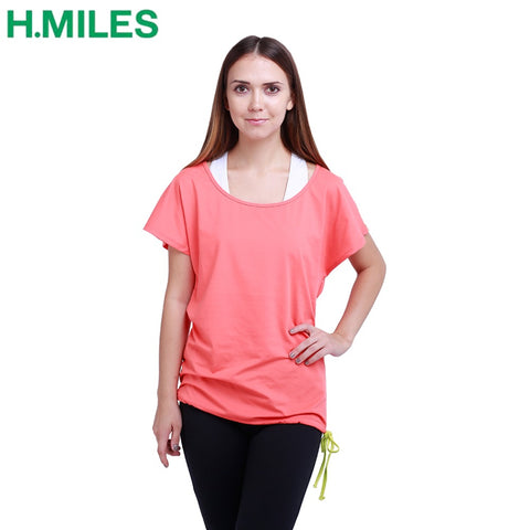 HMILES 2017 womens yoga t shirts sports jersey sportswear woman yoga shirt gym clothes yoga top athletic running cycling apparel
