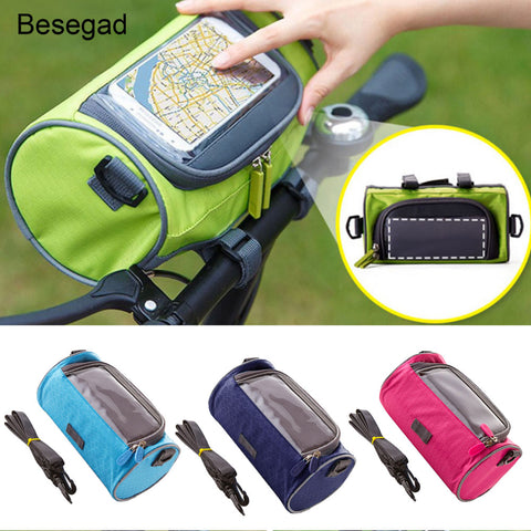 Besegad Water proof Bicycle Handlebar Cycling Outdoor Phone Holder Bag Case with Touch Screen Capability for iPhone 8 7 6 5 5S