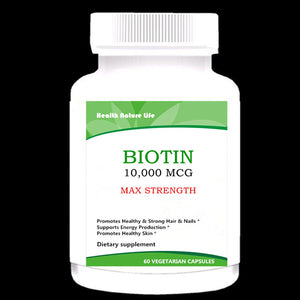 Biotin 10,000 MCG - Max Strength Vitamin B Supplement, Vitamin B7 Biotin Pills to Improve Skin Health, Hair Growth - 1 Bottle