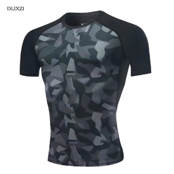 DLIXZI Camouflage T-Shirt Men Compression Shirt Short Sleeve Rashgard Print 3D Mens Tshirts Workout Crossfit Fitness Clothing