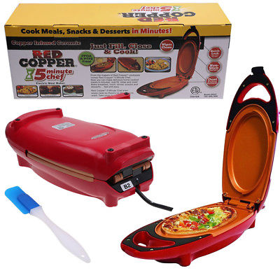Red Copper 5 Minute Chef Electric Meal Maker Nonstick Copper Infused