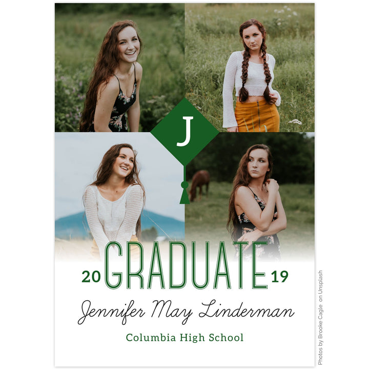 Graduation announcement by The Alice Files featuring multi-photo layout and graduation cap monogram.