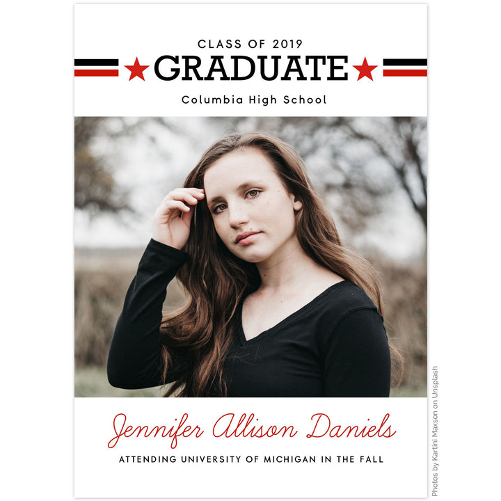 Graduation announcement by The Alice Files featuring stars and stripes elements with multi-photo layout.