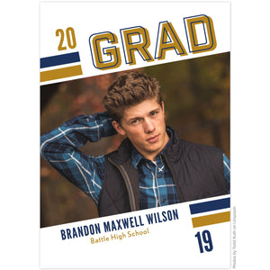 Graduation announcement by The Alice Files featuring bold tilted stripes and dynamic image layout.