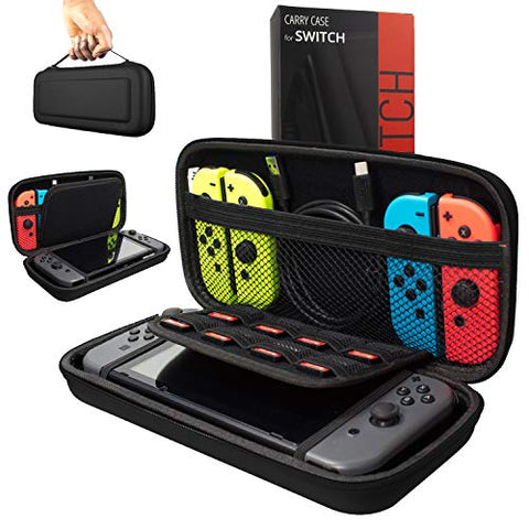 Orzly Carry Case Compatible With Nintendo Switch - BLACK Protective Hard Portable Travel Carry Case Shell Pouch for Nintendo Switch Console & Accessories: Video Games