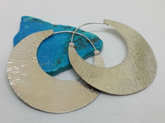 Sterling Silver Sun Ray Hoop Earring