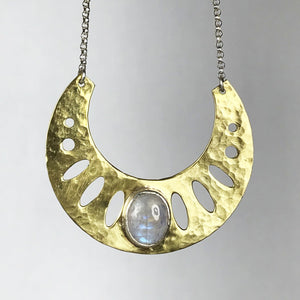 Moonstone Geometric Necklace SOLD
