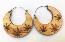 Load image into Gallery viewer, Wooden Cannabis Hoop Earring