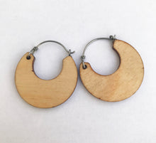 Load image into Gallery viewer, Small Wooden Hoop Earring