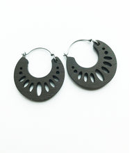 Load image into Gallery viewer, Cacao Wooden Geometric Hoop Earring