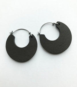 Small Cacao Wooden Hoop Earring