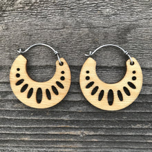 Load image into Gallery viewer, Wooden Geometric Hoop Earring