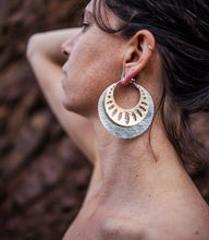 Load image into Gallery viewer, Stacked Hoops Sterling Silver Hammered Hoop 2.5 inch Brass Geometric Hoop 2 inch