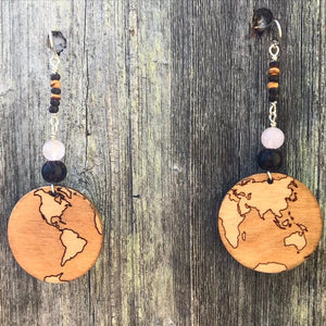 Small Wooden Earth Earring
