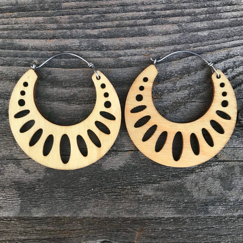Wooden Geometric Hoop Earring