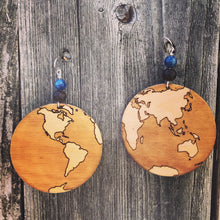 Load image into Gallery viewer, Large Wooden Earth Earring