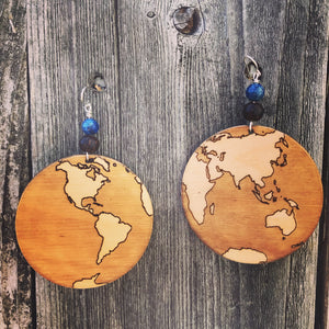 Large Wooden Earth Earring