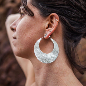 Sterling Silver Hammered Hoop 2.5 inch