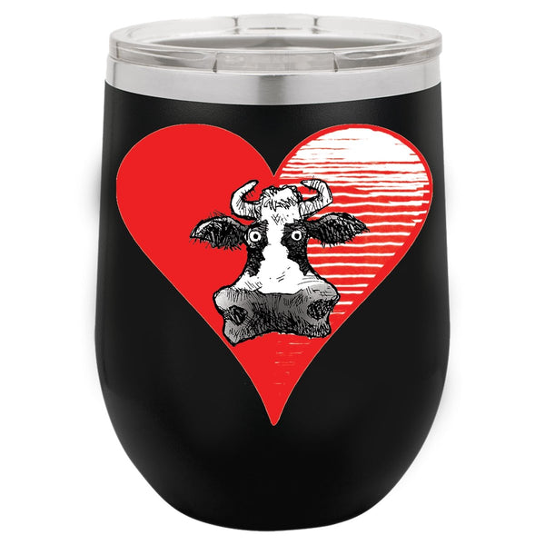 @DEVINCOW HEART THE COW WINE TUMBLER-WINE TUMBLERS-PLAYING POLITICS