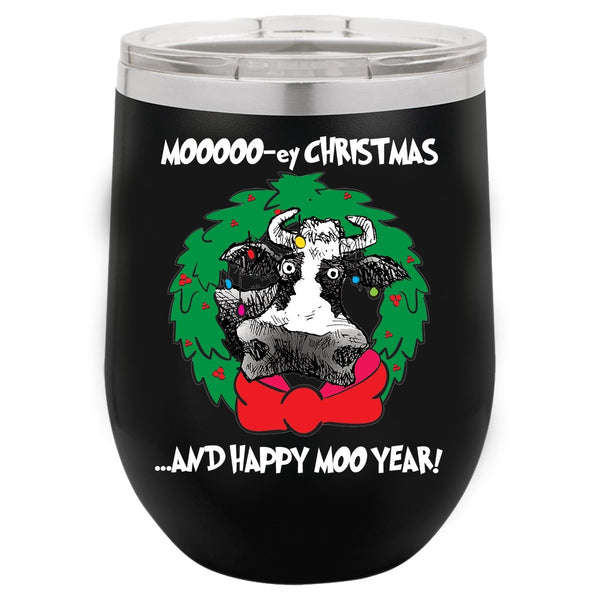 @DEVINCOW MOOOO-EY CHRISTMAS WINE TUMBLER-WINE TUMBLERS-PLAYING POLITICS
