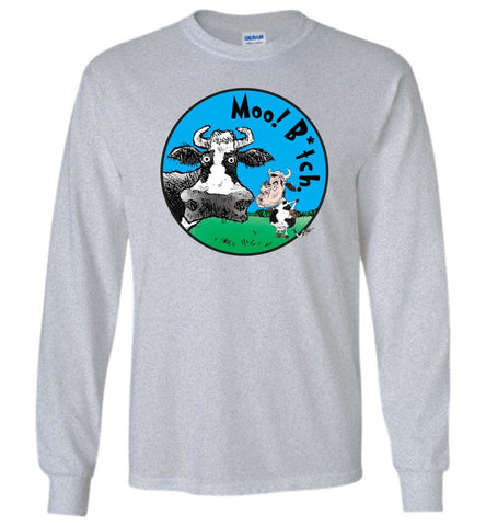 MOO! B*TCH. LONG SLEEVED TEE-LONG SLEEVED TEE-PLAYING POLITICS