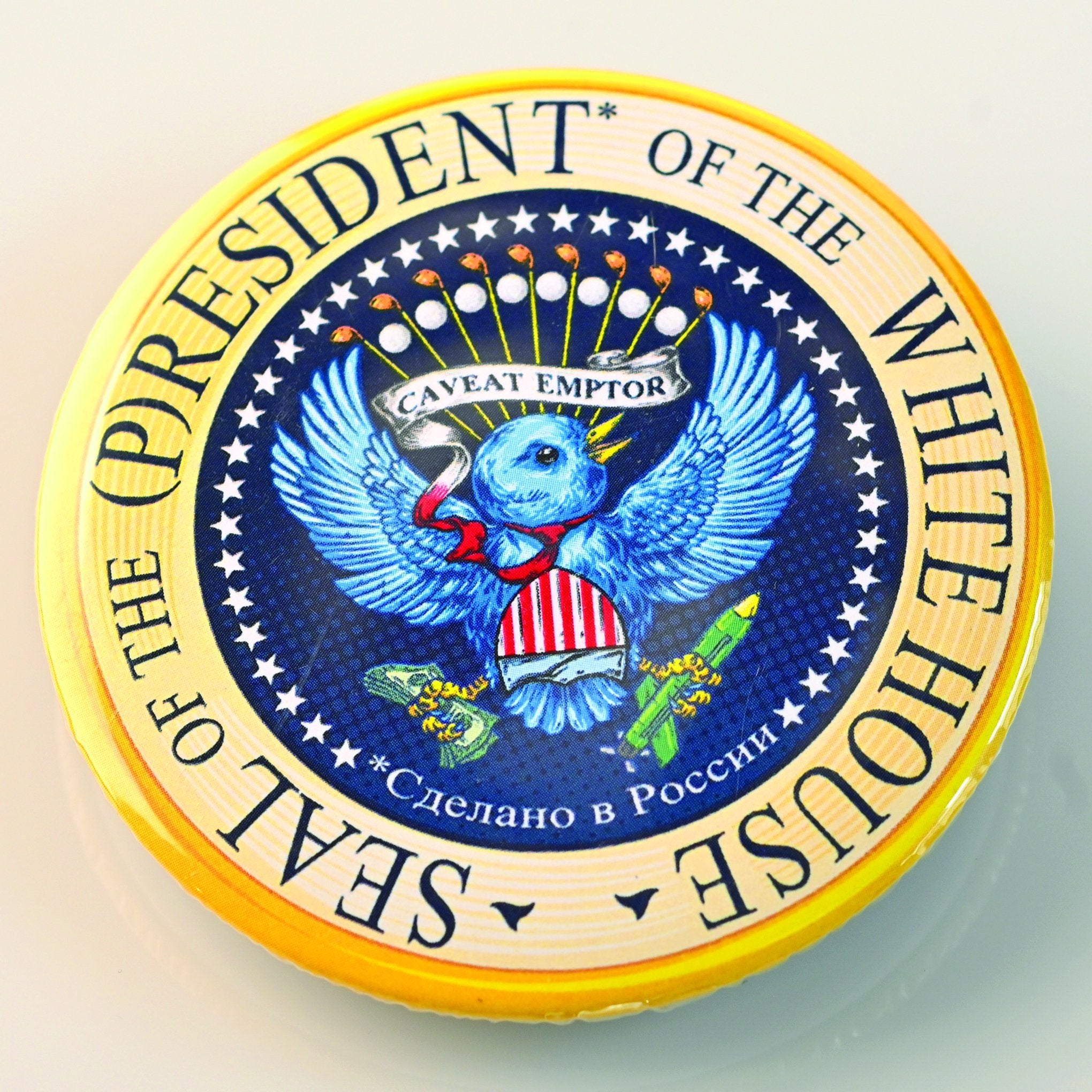(P)RESIDENTIAL* SEAL BUTTON-BUTTON-PLAYING POLITICS