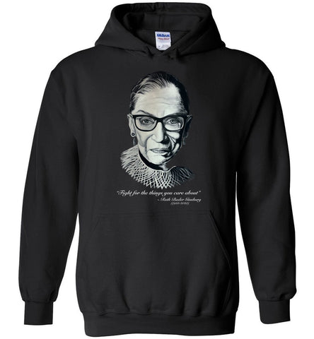 "RBG ""FIGHT FOR THE THINGS YOU CARE ABOUT"" HOODIE-HOODIES-PLAYING POLITICS"
