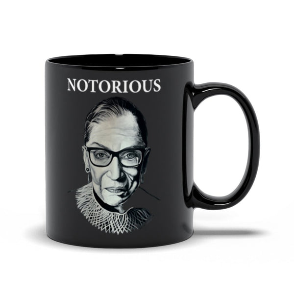 "RBG ""NOTORIOUS"" BLACK COFFEE MUG-COFFEE MUG-PLAYING POLITICS"