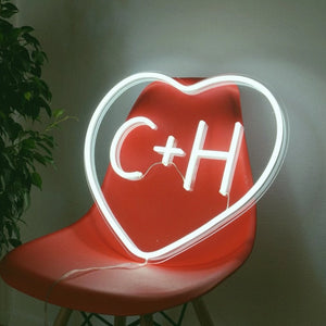 heart initials neon sign