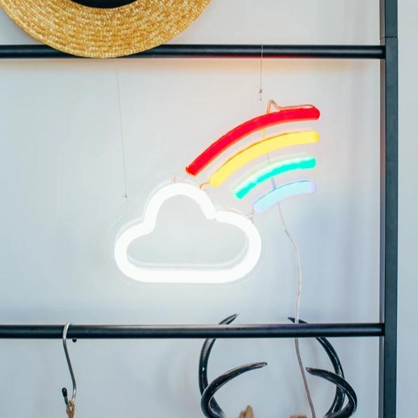 cloud rainbow neon sign