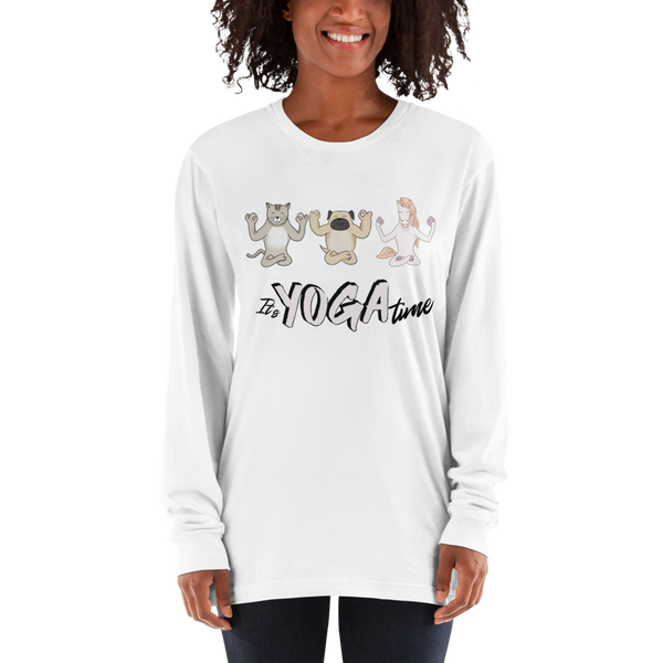 It's Yoga Time036 American Apparel 2007 Unisex Fine Jersey Long Sleeve T-Shirt Comfy style