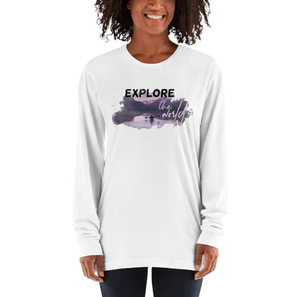 Explore The world006 American Apparel 2007 Unisex Fine Jersey Long Sleeve T-Shirt Comfy style