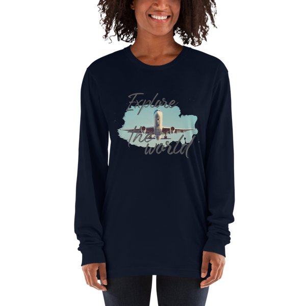 Explore The world001 American Apparel 2007 Unisex Fine Jersey Long Sleeve T-Shirt Comfy style