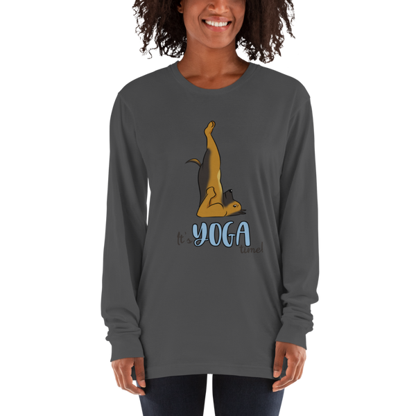 It's Yoga Time021 American Apparel 2007 Unisex Fine Jersey Long Sleeve T-Shirt Comfy style