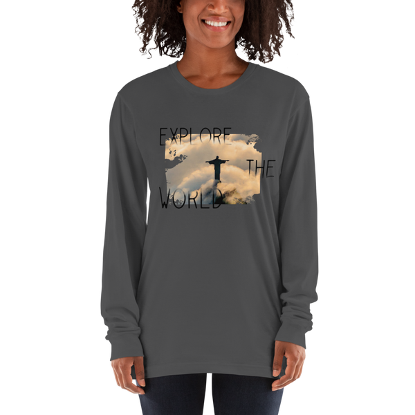 Explore The world011 American Apparel 2007 Unisex Fine Jersey Long Sleeve T-Shirt Comfy style