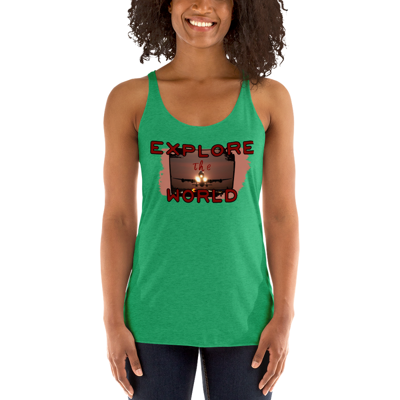 Explore The World0014 Next Level 6733 Ladies' Triblend Racerback Tank