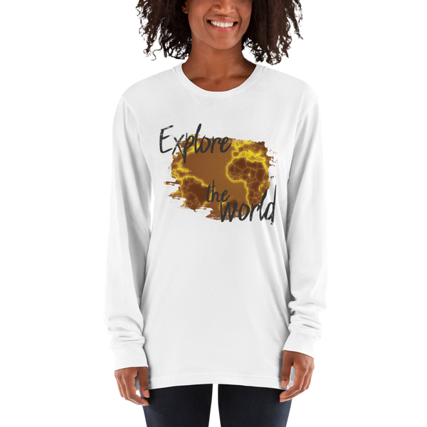 Explore The world018 American Apparel 2007 Unisex Fine Jersey Long Sleeve T-Shirt Comfy style