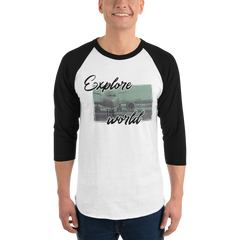 Explore The world0013 3/4 SleeveTultex 245 Unisex Fine Jersey Raglan Tee w/ Tear Away Label