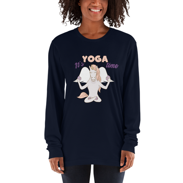 It's Yoga Time052 American Apparel 2007 Unisex Fine Jersey Long Sleeve T-Shirt Comfy style