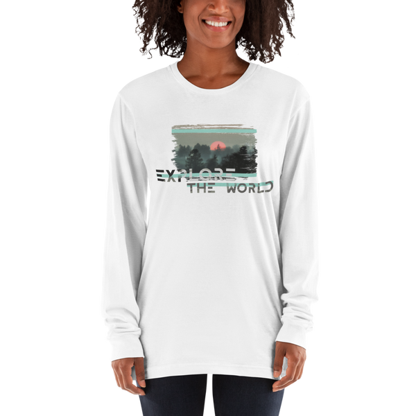 Explore The world021 American Apparel 2007 Unisex Fine Jersey Long Sleeve T-Shirt Comfy style