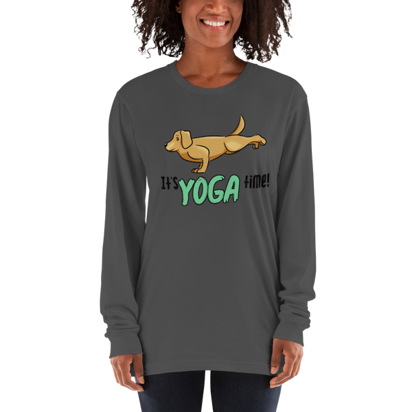 It's Yoga Time026 American Apparel 2007 Unisex Fine Jersey Long Sleeve T-Shirt Comfy style