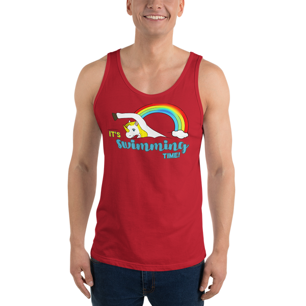 It's Swimming Time03 Bella + Canvas 3480 Unisex Jersey Tank with Tear Away Label