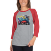 Explore The World0019 3/4 Sleeve Tultex 245 Unisex Fine Jersey Raglan Tee w/ Tear Away Label