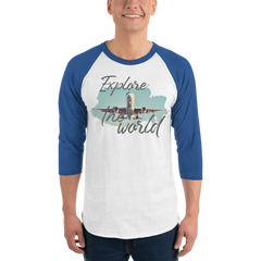 Explore The World001 Tultex 245 Unisex Fine Jersey Raglan Tee w/ Tear Away Label