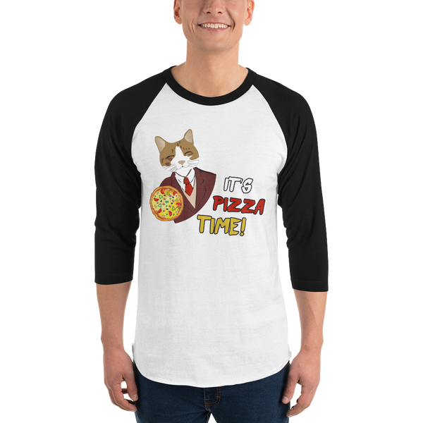 It's Pizza Time01 Tultex 245 Unisex Fine Jersey Raglan Tee w/ Tear Away Label