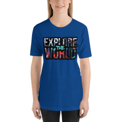 Explore The World0022 Bella + Canvas 3001 Unisex Short Sleeve Jersey T-Shirt with Tear Away Label