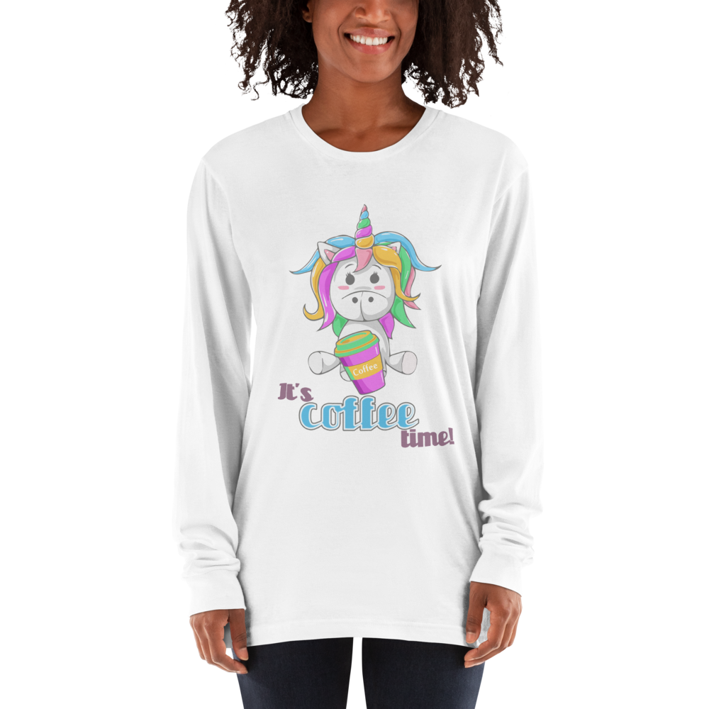 Its Coffee Time036 American Apparel 2007 Unisex Fine Jersey Long Sleeve T-Shirt Comfy style